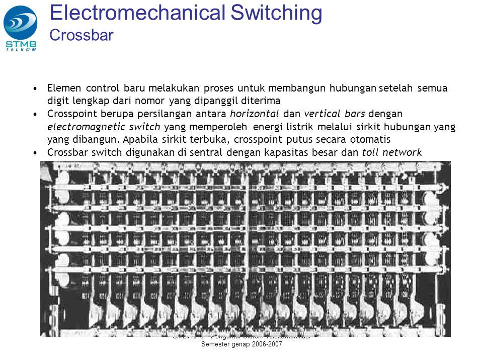 SM241013 - Pengantar Sistem Telekomunikasi Semester genap 2006-2007 Electromechanical Switching Crossbar Elemen control baru melakukan proses untuk membangun hubungan setelah semua digit lengkap dari nomor yang dipanggil diterima Crosspoint berupa persilangan antara horizontal dan vertical bars dengan electromagnetic switch yang memperoleh energi listrik melalui sirkit hubungan yang yang dibangun.
