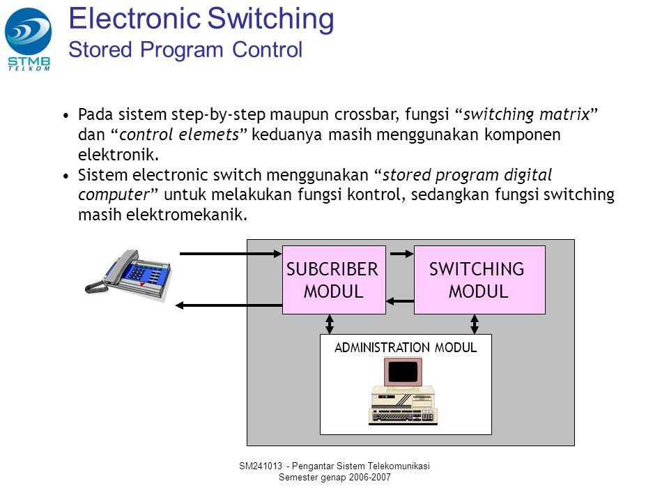 SM241013 - Pengantar Sistem Telekomunikasi Semester genap 2006-2007 Electronic Switching Stored Program Control Pada sistem step-by-step maupun crossbar, fungsi switching matrix dan control elemets keduanya masih menggunakan komponen elektronik.