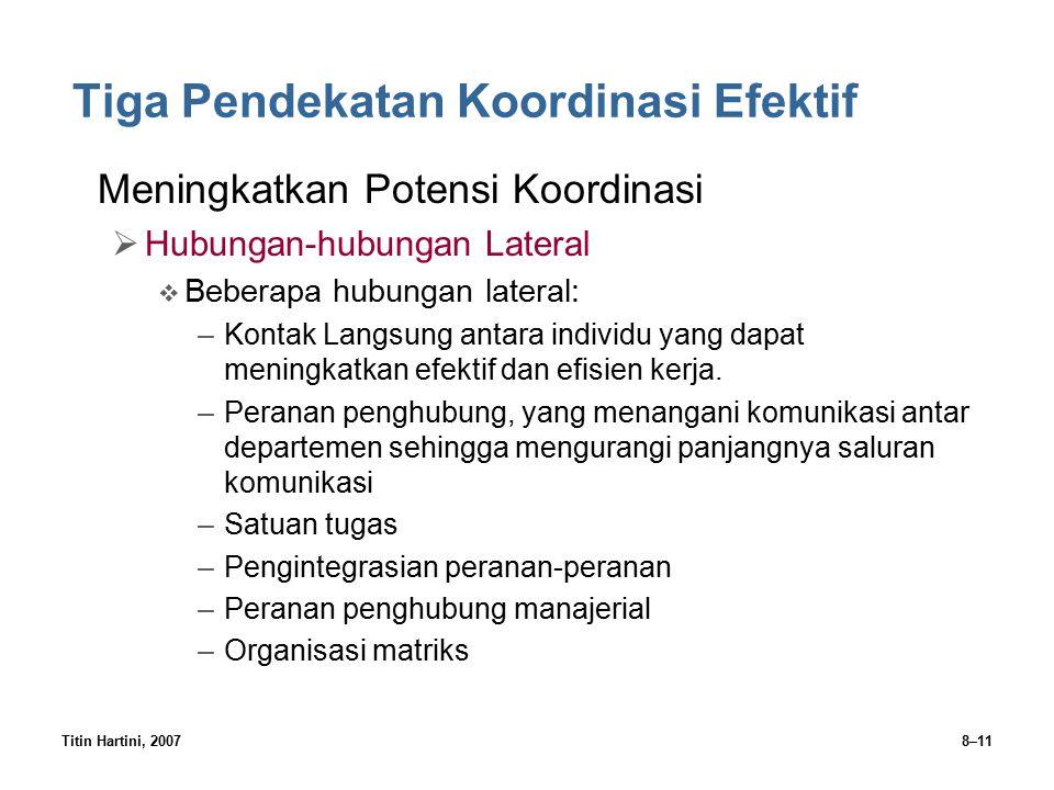 Titin Hartini, 20078–11 Tiga Pendekatan Koordinasi Efektif Meningkatkan Potensi Koordinasi  Hubungan-hubungan Lateral  Beberapa hubungan lateral: –K