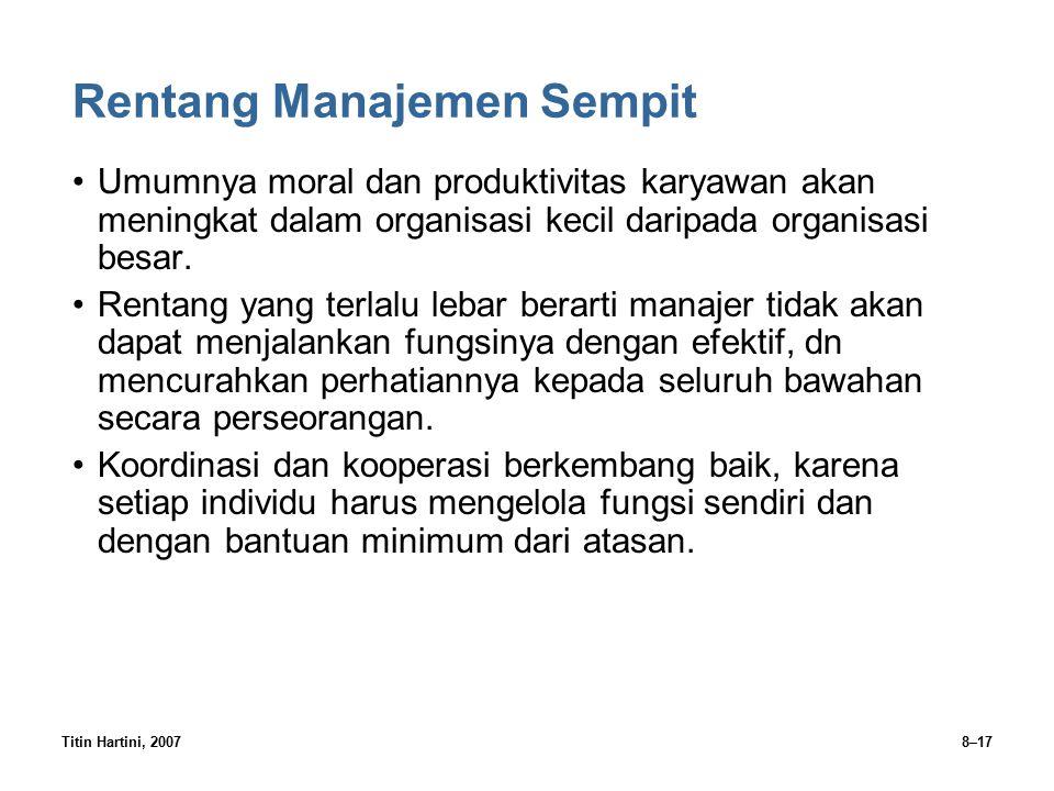 Titin Hartini, 20078–17 Rentang Manajemen Sempit Umumnya moral dan produktivitas karyawan akan meningkat dalam organisasi kecil daripada organisasi be