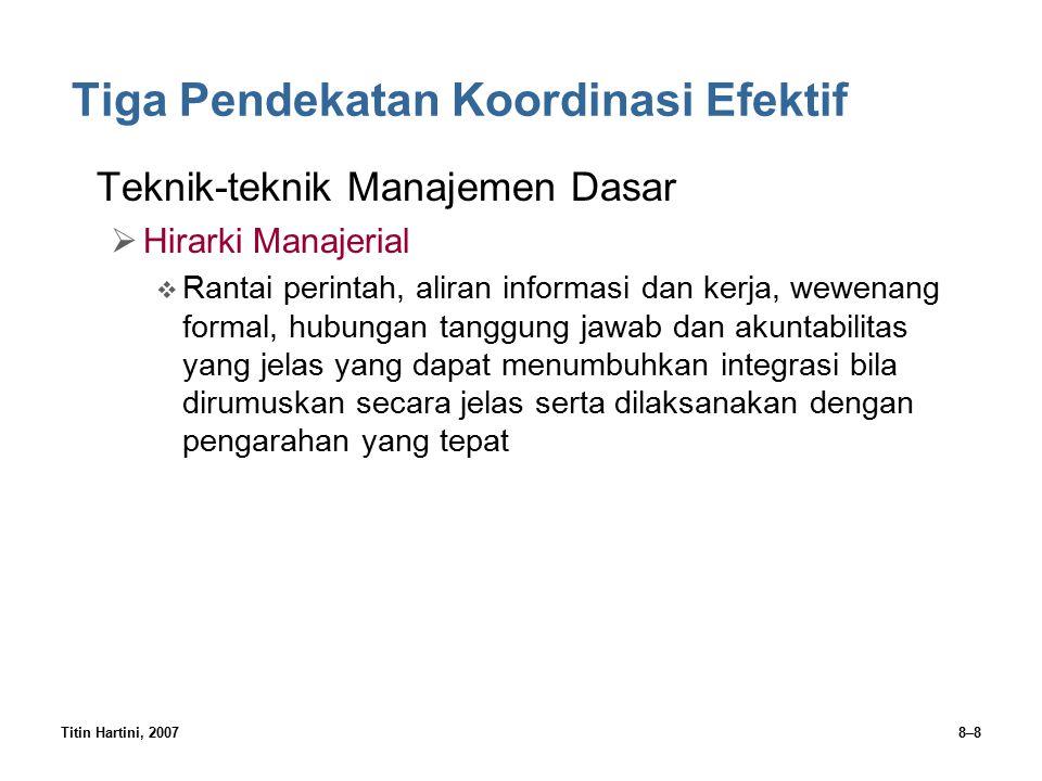 Titin Hartini, 20078–8 Tiga Pendekatan Koordinasi Efektif Teknik-teknik Manajemen Dasar  Hirarki Manajerial  Rantai perintah, aliran informasi dan k