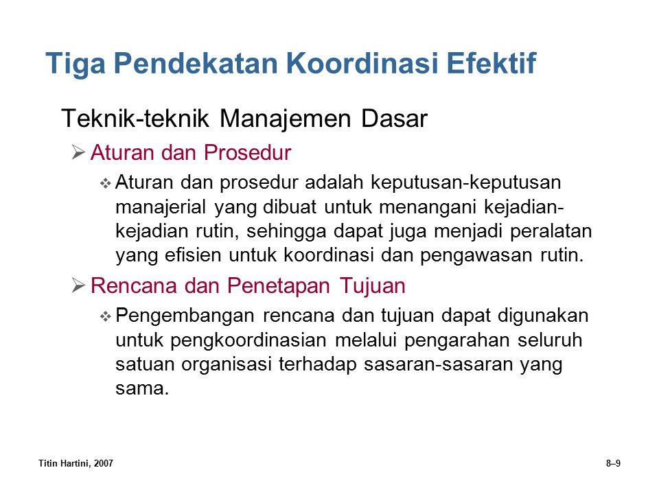 Titin Hartini, 20078–9 Tiga Pendekatan Koordinasi Efektif Teknik-teknik Manajemen Dasar  Aturan dan Prosedur  Aturan dan prosedur adalah keputusan-k