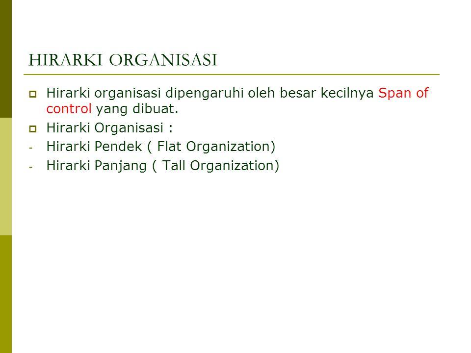 HIRARKI ORGANISASI  Hirarki organisasi dipengaruhi oleh besar kecilnya Span of control yang dibuat.
