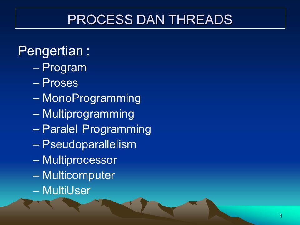 12 Items yang dimiliki semua thread dalam satu proses dan items yang khusus dimiliki oleh masing-masing thread adalah sbb:Items yang dimiliki semua thread dalam satu proses dan items yang khusus dimiliki oleh masing-masing thread adalah sbb: