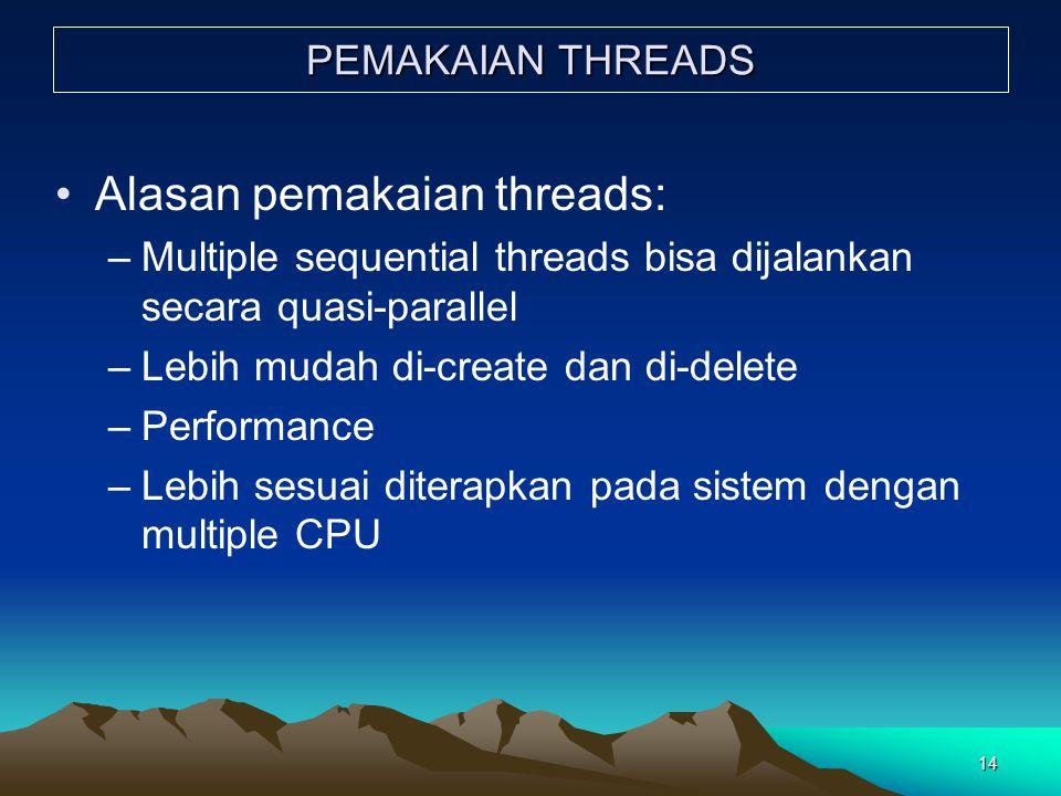 14 PEMAKAIAN THREADS Alasan pemakaian threads: –Multiple sequential threads bisa dijalankan secara quasi-parallel –Lebih mudah di-create dan di-delete