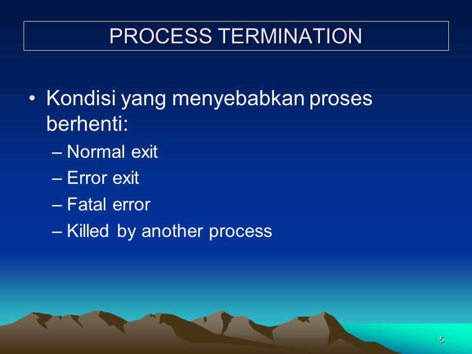 5 PROCESS TERMINATION Kondisi yang menyebabkan proses berhenti: –Normal exit –Error exit –Fatal error –Killed by another process