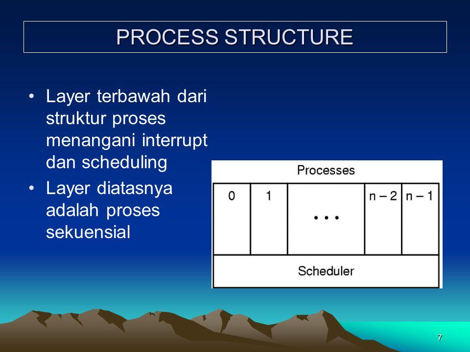 7 PROCESS STRUCTURE Layer terbawah dari struktur proses menangani interrupt dan scheduling Layer diatasnya adalah proses sekuensial