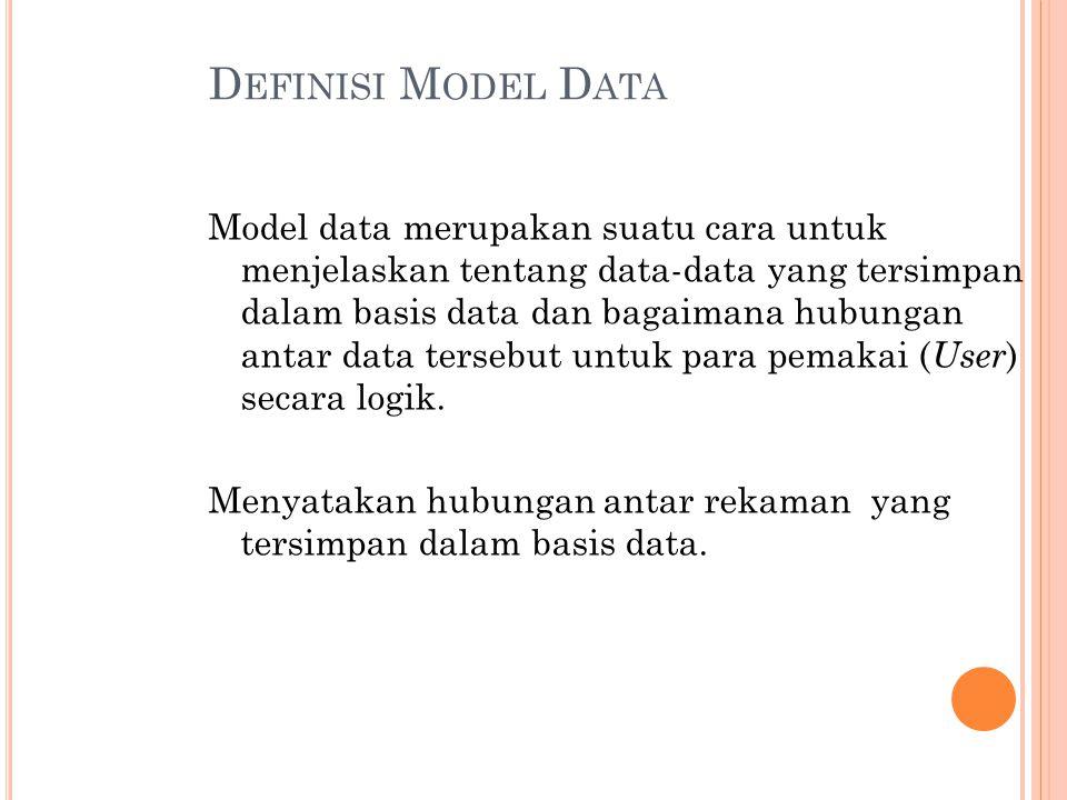 D EFINISI M ODEL D ATA Model data merupakan suatu cara untuk menjelaskan tentang data-data yang tersimpan dalam basis data dan bagaimana hubungan antar data tersebut untuk para pemakai ( User ) secara logik.
