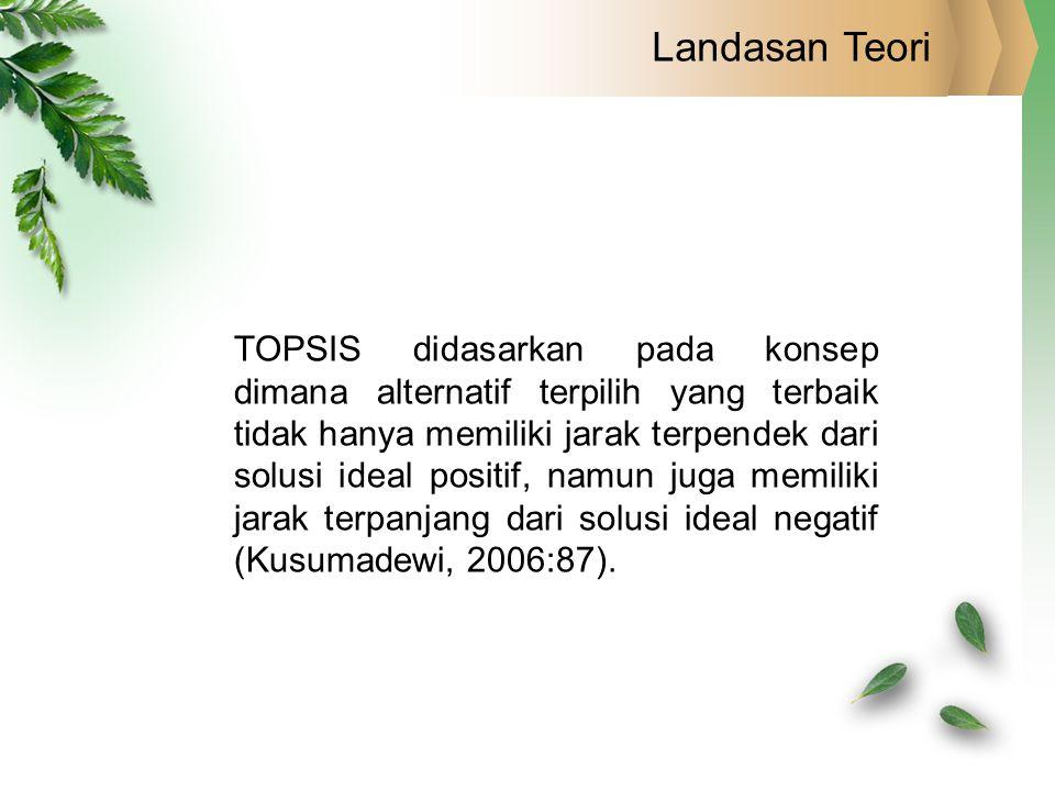 Landasan Teori TOPSIS didasarkan pada konsep dimana alternatif terpilih yang terbaik tidak hanya memiliki jarak terpendek dari solusi ideal positif, n