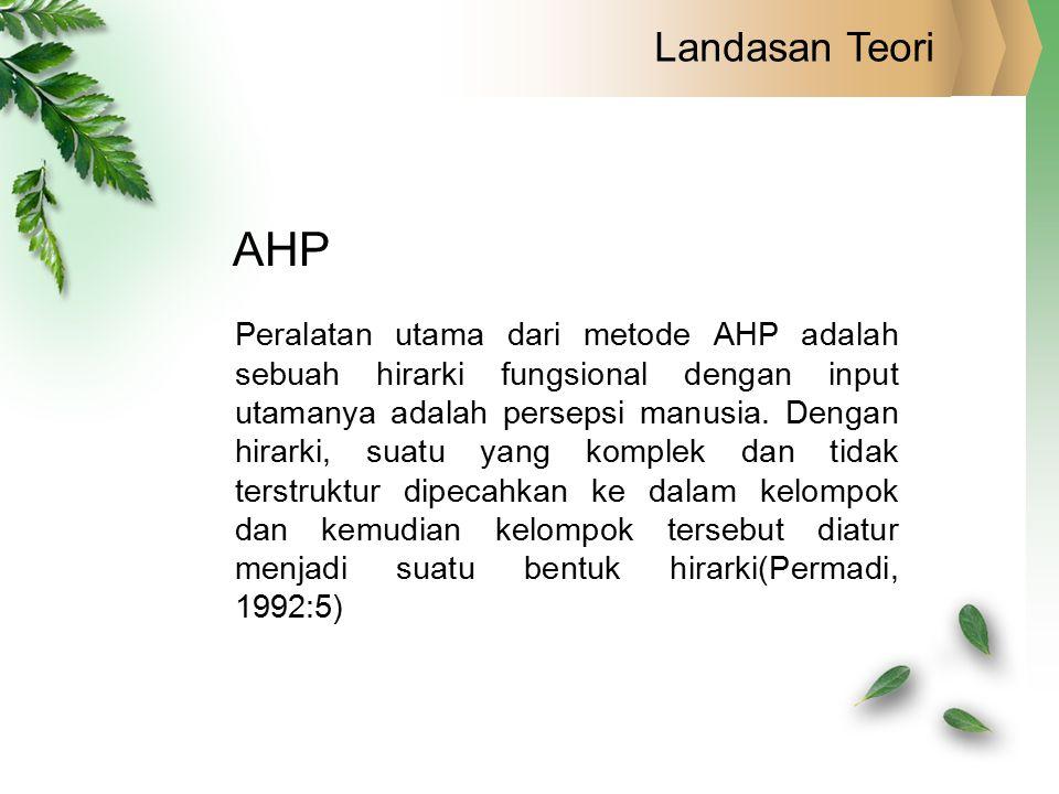 Landasan Teori AHP Peralatan utama dari metode AHP adalah sebuah hirarki fungsional dengan input utamanya adalah persepsi manusia. Dengan hirarki, sua