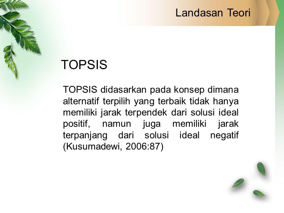 Landasan Teori TOPSIS TOPSIS didasarkan pada konsep dimana alternatif terpilih yang terbaik tidak hanya memiliki jarak terpendek dari solusi ideal pos