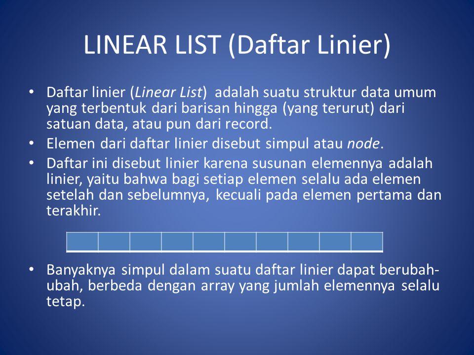 LINEAR LIST (Daftar Linier) Daftar linier (Linear List) adalah suatu struktur data umum yang terbentuk dari barisan hingga (yang terurut) dari satuan