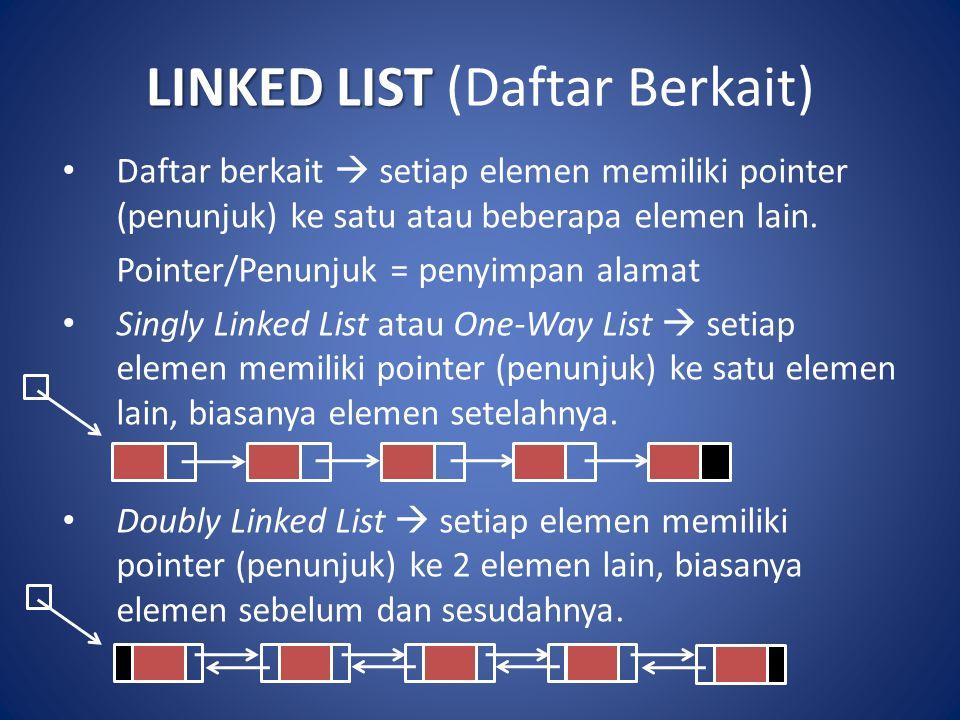 LINKED LIST LINKED LIST (Daftar Berkait) Daftar berkait  setiap elemen memiliki pointer (penunjuk) ke satu atau beberapa elemen lain. Pointer/Penunju