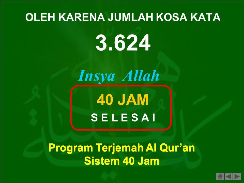 Siapapun ingin lancar membaca Al Quran, lancarkan dulu Surah Al Baqarah. Begitu pula siapapun ingin bisa menerjemahkan Al Qur'an, berlatih dulu menerj