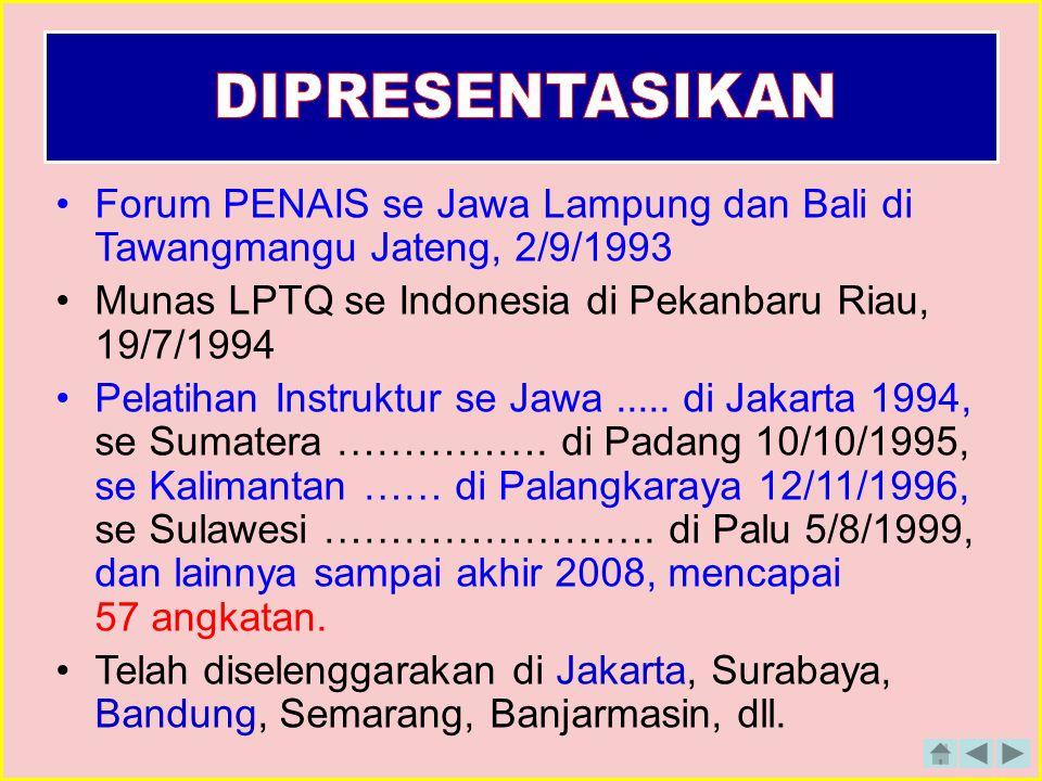 Forum PENAIS se Jawa Lampung dan Bali di Tawangmangu Jateng, 2/9/1993 Munas LPTQ se Indonesia di Pekanbaru Riau, 19/7/1994 Pelatihan Instruktur se Jawa.....