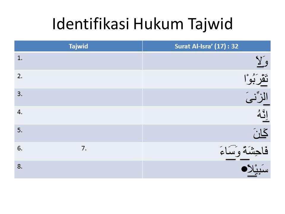 Identifikasi Hukum Tajwid TajwidSurat Al-Isra' (17) : 32 1. وَلاَ 2. تَقْرَبُوْا 3. الزِّنىَ 4. اِنَّهُ 5. كَانَ 6. 7. فَاحِشَةً وَسَاءَ 8. سَبِيْلاً