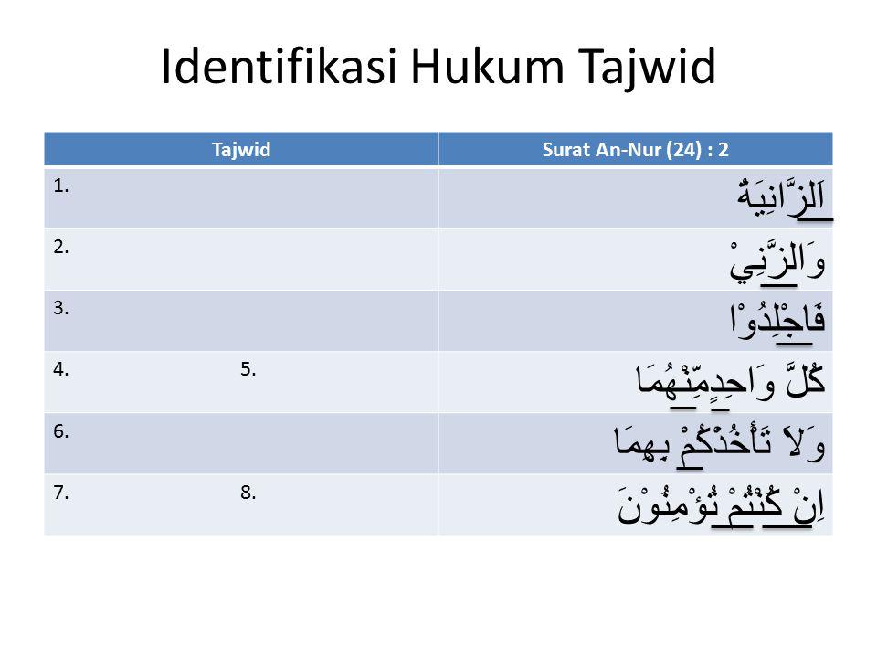 Identifikasi Hukum Tajwid TajwidSurat An-Nur (24) : 2 1. اَلزَّانِيَةُ 2. وَالزَّنِيْ 3. فَاجْلِدُوْا 4. 5. كُلَّ وَاحِدٍمِّنْهُمَا 6. وَلاَ تَأْخُذْك