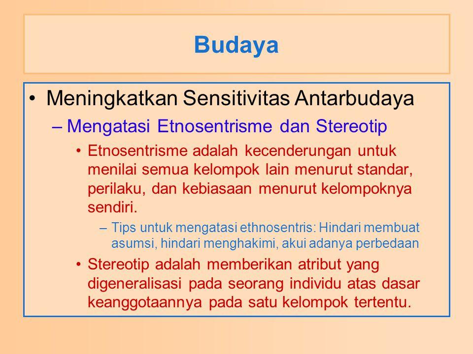 Budaya Meningkatkan Sensitivitas Antarbudaya –Mengatasi Etnosentrisme dan Stereotip Etnosentrisme adalah kecenderungan untuk menilai semua kelompok la