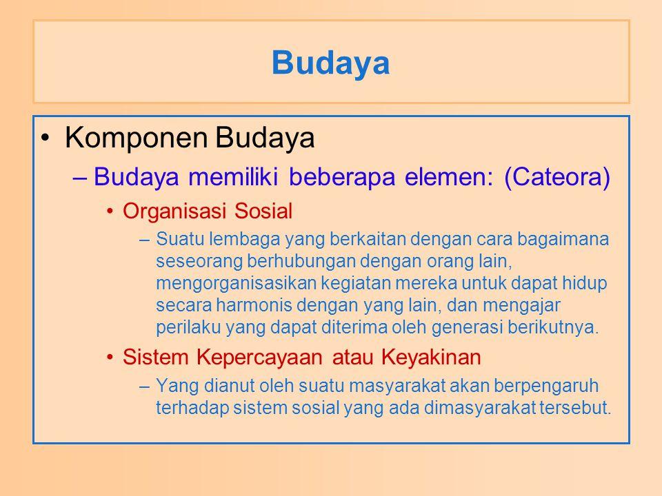 Budaya Komponen Budaya –Budaya memiliki beberapa elemen: (Cateora) Organisasi Sosial –Suatu lembaga yang berkaitan dengan cara bagaimana seseorang ber