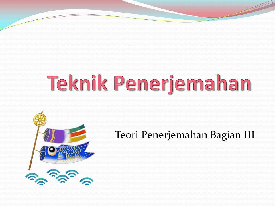 Bagan Transposisi/Formal Shifts Tataran- Gramatikal  Leksikal Pergeseran - Leksikal  Gramatikal Kategori- Struktur - Kelas Kata - Unit - Intrasistem