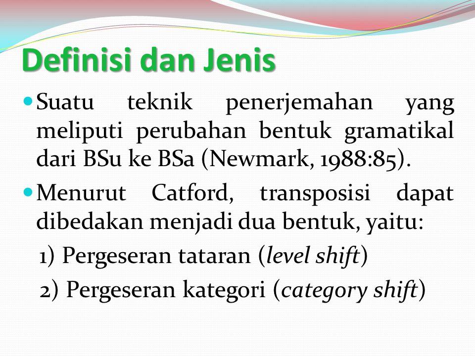 Definisi dan Jenis Suatu teknik penerjemahan yang meliputi perubahan bentuk gramatikal dari BSu ke BSa (Newmark, 1988:85). Menurut Catford, transposis