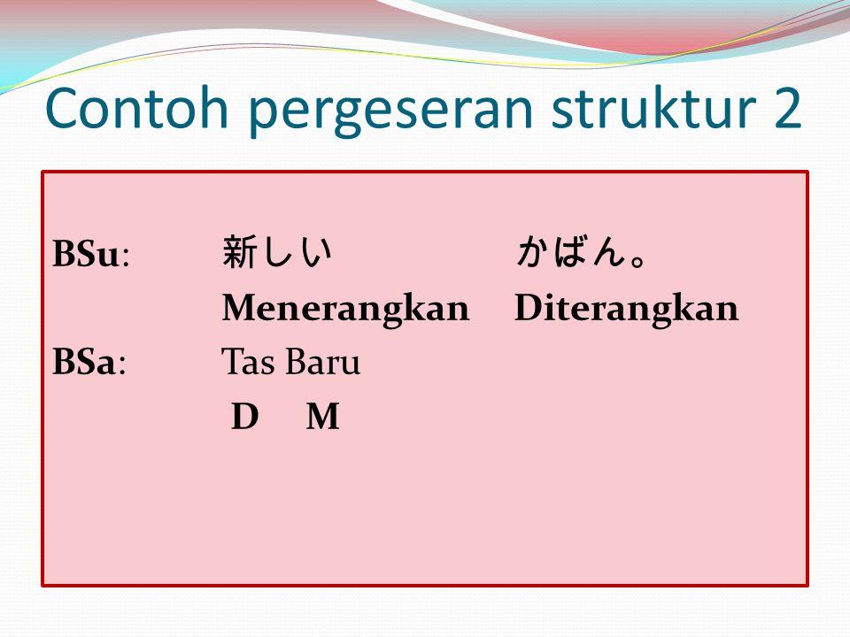 Contoh pergeseran struktur 2 BSu: 新しい かばん。 Menerangkan Diterangkan BSa:Tas Baru D M