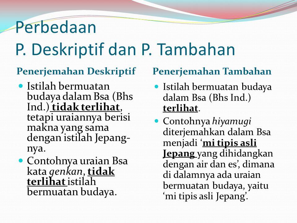 Perbedaan P. Deskriptif dan P. Tambahan Penerjemahan Deskriptif Penerjemahan Tambahan Istilah bermuatan budaya dalam Bsa (Bhs Ind.) tidak terlihat, te