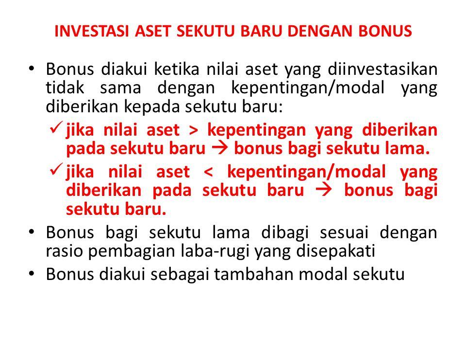 INVESTASI ASET SEKUTU BARU DENGAN BONUS Bonus diakui ketika nilai aset yang diinvestasikan tidak sama dengan kepentingan/modal yang diberikan kepada s