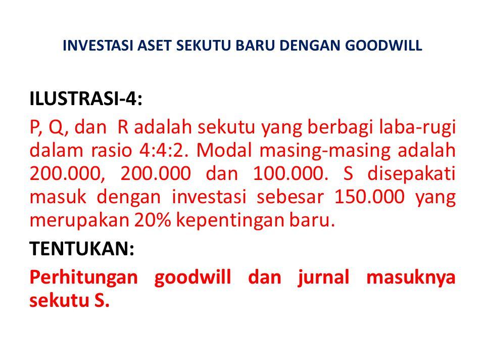 INVESTASI ASET SEKUTU BARU DENGAN GOODWILL ILUSTRASI-4: P, Q, dan R adalah sekutu yang berbagi laba-rugi dalam rasio 4:4:2. Modal masing-masing adalah
