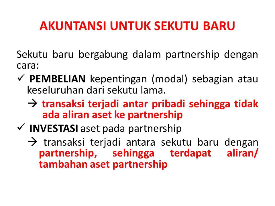 AKUNTANSI UNTUK SEKUTU BARU Sekutu baru bergabung dalam partnership dengan cara: PEMBELIAN kepentingan (modal) sebagian atau keseluruhan dari sekutu l