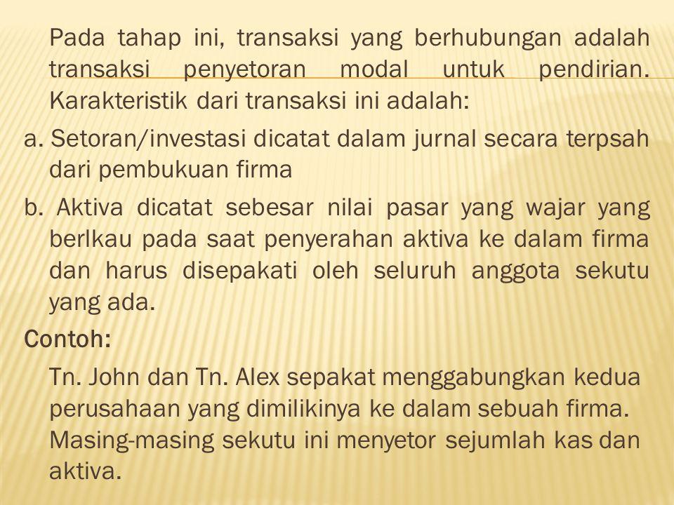 Tn.John menyetor uang kas sebesar Rp. 450 juta dan peralatan kantor dengan nilai pasar Rp.