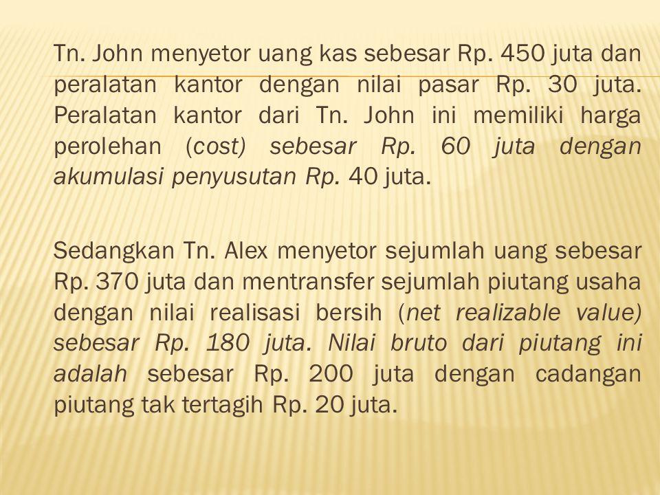 Jurnal untuk transaksi Tn.John adalah: Kas450.000.000 Peralatan Kantor 30.000.000 Modal T.