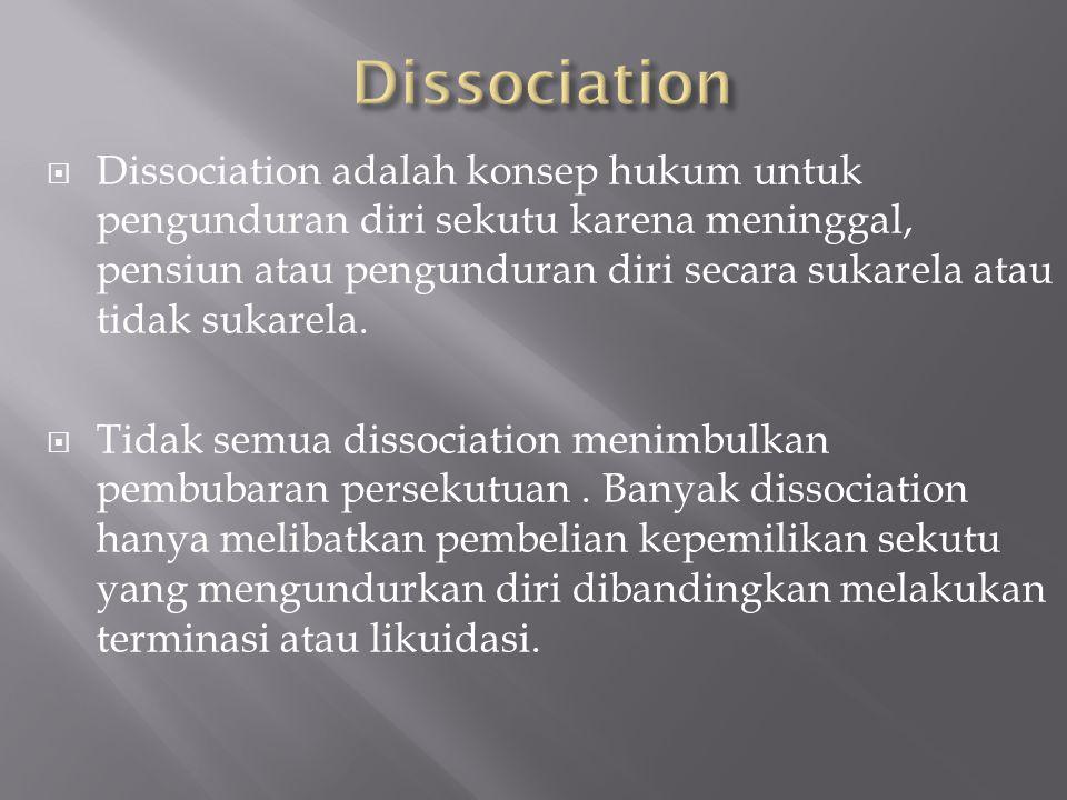 ADA EMPAT JENIS PEMBUBARAN PERSEKUTUAN 1. Dissociation/Pengunduran diri 2. Dissolution/Pembubaran 3. Termination/Terminasi 4. Liquidation/Likuidasi.