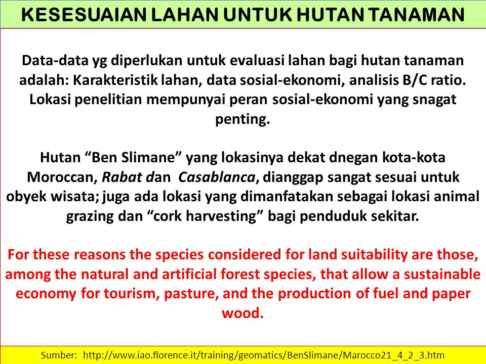 KESESUAIAN LAHAN UNTUK HUTAN TANAMAN Table 46 - Rating and weights for soil CaCO 3 Sumber: http://www.iao.florence.it/training/geomatics/BenSlimane/Marocco21_4_2_3.htm CaCO 3 (%) Quercus suber Tetraclinis articulata Pinus halepensis Eucalyptus camaldulensis 010.510.8 0-1010.511 10-300.5111 >300.3110.8 Weight2453