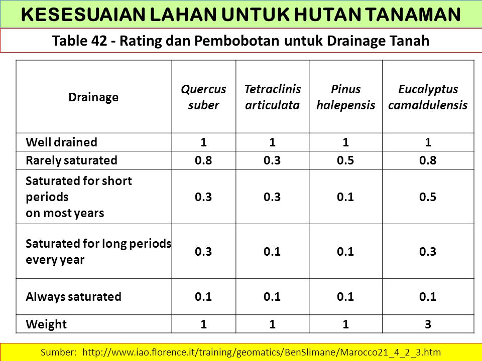 KESESUAIAN LAHAN UNTUK HUTAN TANAMAN Table 42 - Rating dan Pembobotan untuk Drainage Tanah Sumber: http://www.iao.florence.it/training/geomatics/BenSlimane/Marocco21_4_2_3.htm Drainage Quercus suber Tetraclinis articulata Pinus halepensis Eucalyptus camaldulensis Well drained1111 Rarely saturated0.80.30.50.8 Saturated for short periods on most years 0.3 0.10.5 Saturated for long periods every year 0.30.1 0.3 Always saturated0.1 Weight1113