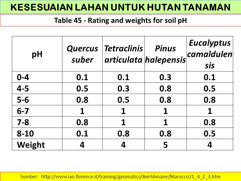 KESESUAIAN LAHAN UNTUK HUTAN TANAMAN Table 45 - Rating and weights for soil pH Sumber: http://www.iao.florence.it/training/geomatics/BenSlimane/Marocc