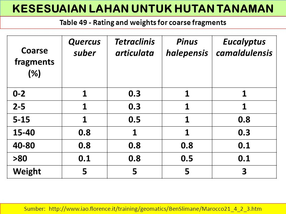 KESESUAIAN LAHAN UNTUK HUTAN TANAMAN Table 49 - Rating and weights for coarse fragments Sumber: http://www.iao.florence.it/training/geomatics/BenSlima