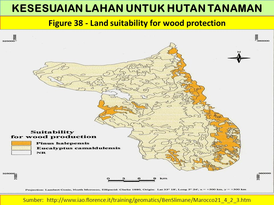 KESESUAIAN LAHAN UNTUK HUTAN TANAMAN Figure 38 - Land suitability for wood protection Sumber: http://www.iao.florence.it/training/geomatics/BenSlimane
