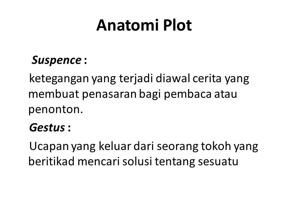 Anatomi Plot Suspence : ketegangan yang terjadi diawal cerita yang membuat penasaran bagi pembaca atau penonton. Gestus : Ucapan yang keluar dari seor