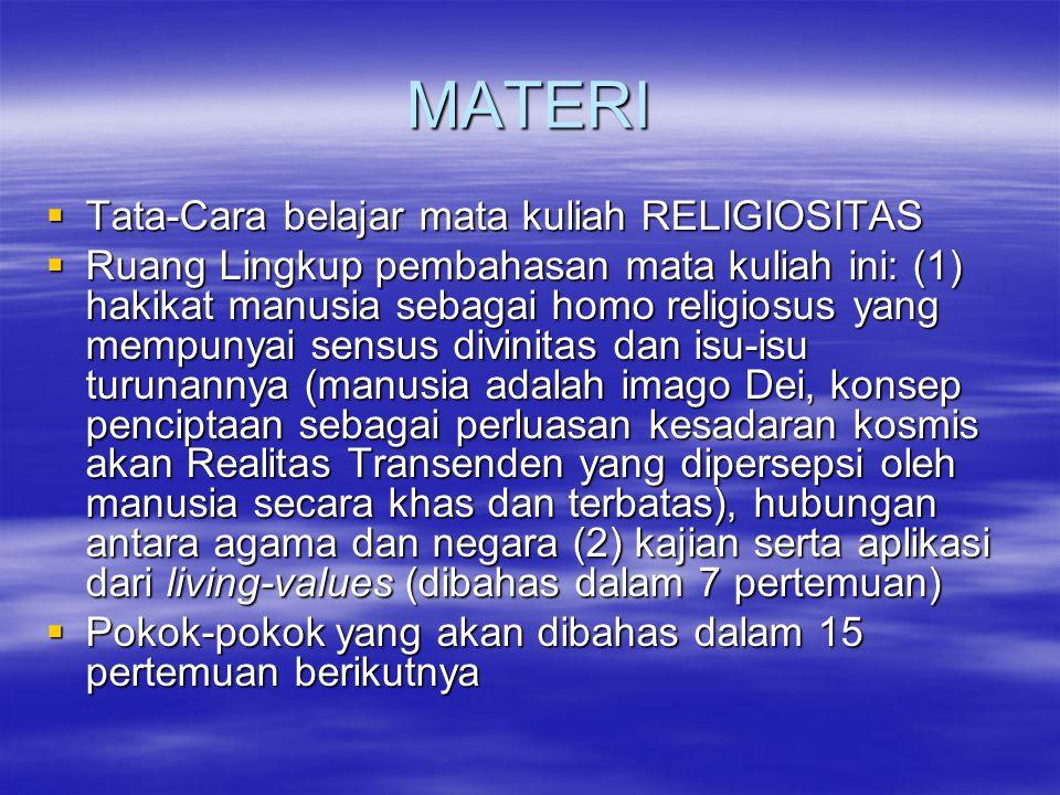 MATERI  Tata-Cara belajar mata kuliah RELIGIOSITAS  Ruang Lingkup pembahasan mata kuliah ini: (1) hakikat manusia sebagai homo religiosus yang mempu
