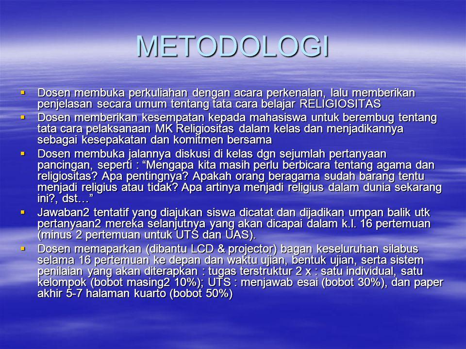 METODOLOGI  Dosen membuka perkuliahan dengan acara perkenalan, lalu memberikan penjelasan secara umum tentang tata cara belajar RELIGIOSITAS  Dosen