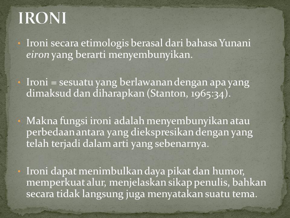 Ironi secara etimologis berasal dari bahasa Yunani eiron yang berarti menyembunyikan. Ironi = sesuatu yang berlawanan dengan apa yang dimaksud dan dih