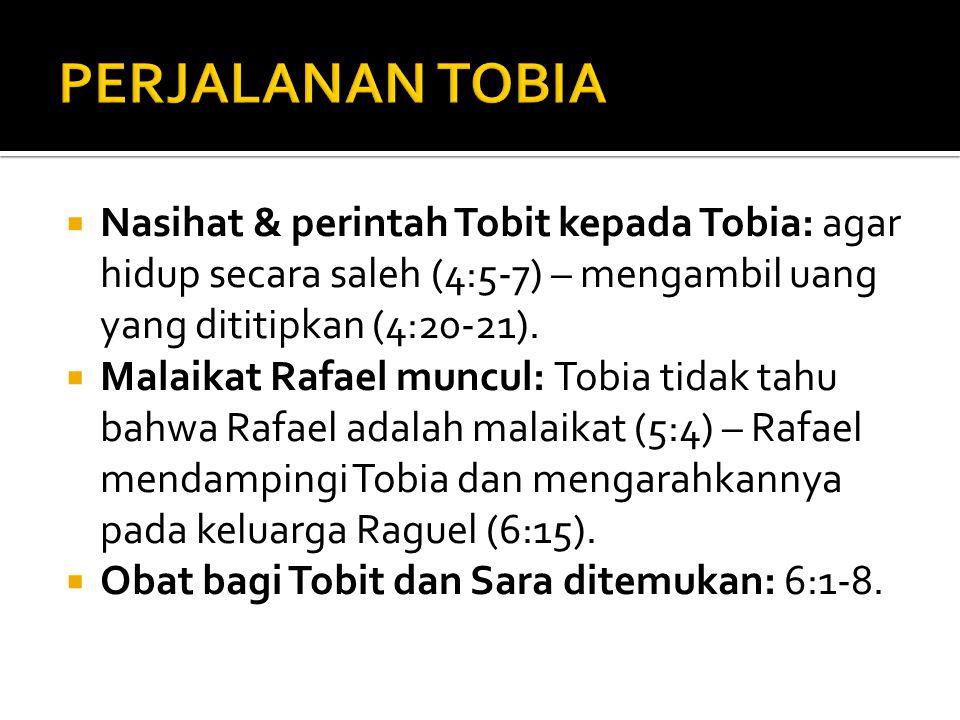  Nasihat & perintah Tobit kepada Tobia: agar hidup secara saleh (4:5-7) – mengambil uang yang dititipkan (4:20-21).  Malaikat Rafael muncul: Tobia t
