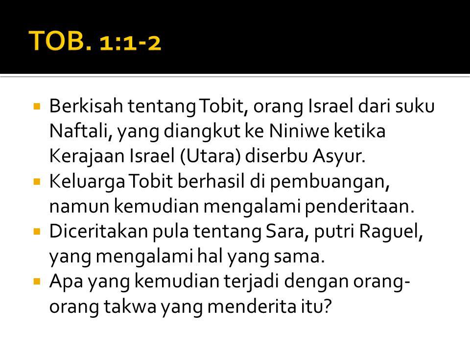 Berkisah tentang Tobit, orang Israel dari suku Naftali, yang diangkut ke Niniwe ketika Kerajaan Israel (Utara) diserbu Asyur.  Keluarga Tobit berha