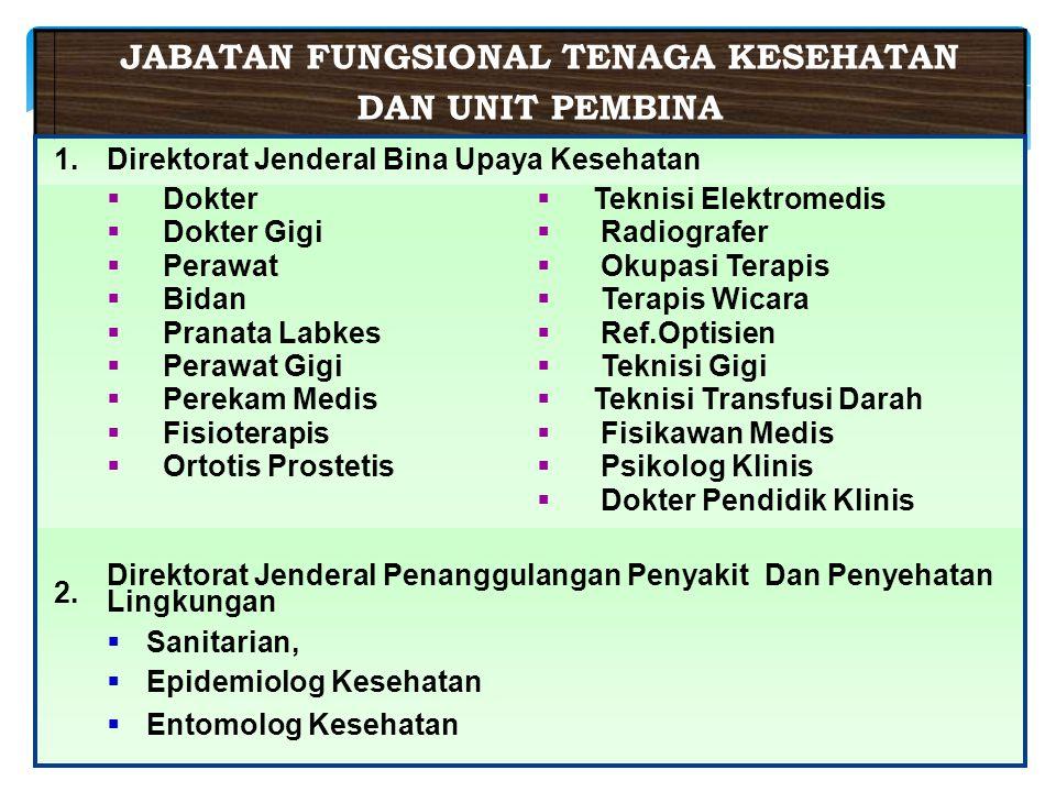 20 JABATAN FUNGSIONAL TENAGA KESEHATAN DAN UNIT PEMBINA 1.Direktorat Jenderal Bina Upaya Kesehatan  Dokter  Dokter Gigi  Perawat  Bidan  Pranata