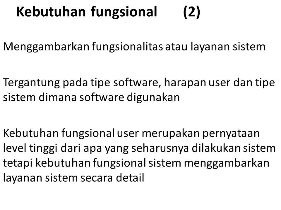 Kebutuhan fungsional (2) Menggambarkan fungsionalitas atau layanan sistem Tergantung pada tipe software, harapan user dan tipe sistem dimana software digunakan Kebutuhan fungsional user merupakan pernyataan level tinggi dari apa yang seharusnya dilakukan sistem tetapi kebutuhan fungsional sistem menggambarkan layanan sistem secara detail