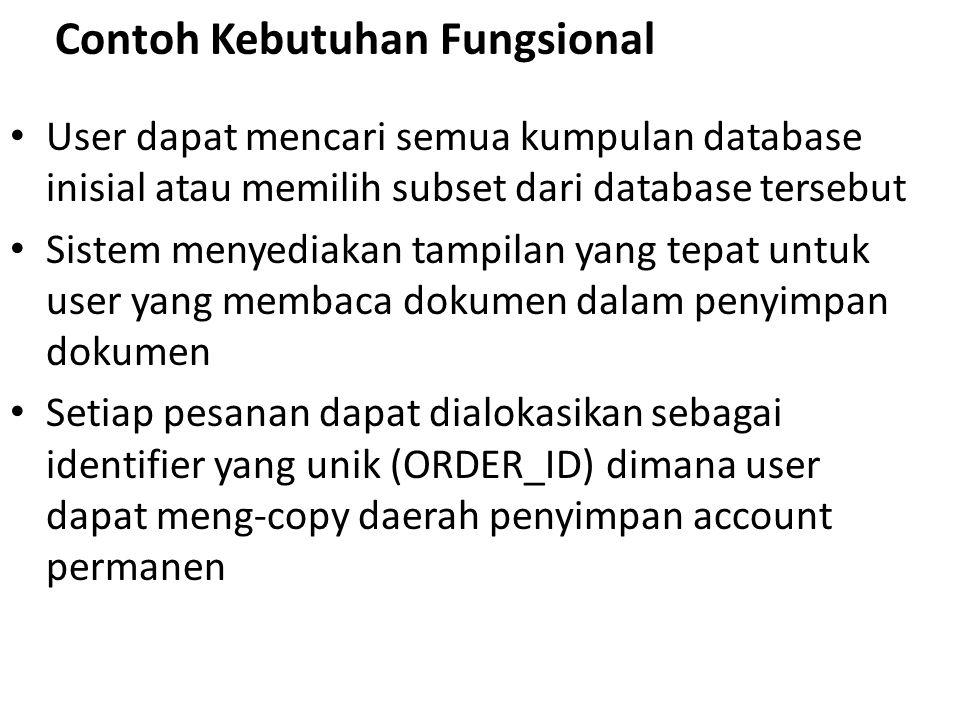 Contoh Kebutuhan Fungsional User dapat mencari semua kumpulan database inisial atau memilih subset dari database tersebut Sistem menyediakan tampilan yang tepat untuk user yang membaca dokumen dalam penyimpan dokumen Setiap pesanan dapat dialokasikan sebagai identifier yang unik (ORDER_ID) dimana user dapat meng-copy daerah penyimpan account permanen