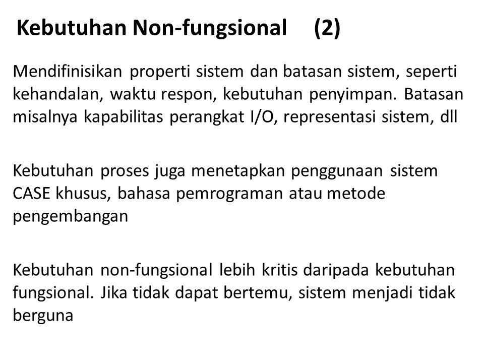Kebutuhan Non-fungsional (2) Mendifinisikan properti sistem dan batasan sistem, seperti kehandalan, waktu respon, kebutuhan penyimpan. Batasan misalny