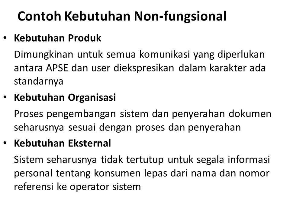 Contoh Kebutuhan Non-fungsional Kebutuhan Produk Dimungkinan untuk semua komunikasi yang diperlukan antara APSE dan user diekspresikan dalam karakter