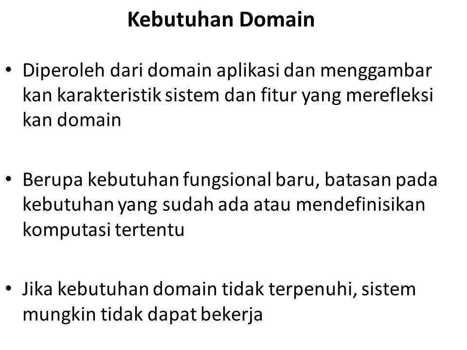 Kebutuhan Domain Diperoleh dari domain aplikasi dan menggambar kan karakteristik sistem dan fitur yang merefleksi kan domain Berupa kebutuhan fungsional baru, batasan pada kebutuhan yang sudah ada atau mendefinisikan komputasi tertentu Jika kebutuhan domain tidak terpenuhi, sistem mungkin tidak dapat bekerja